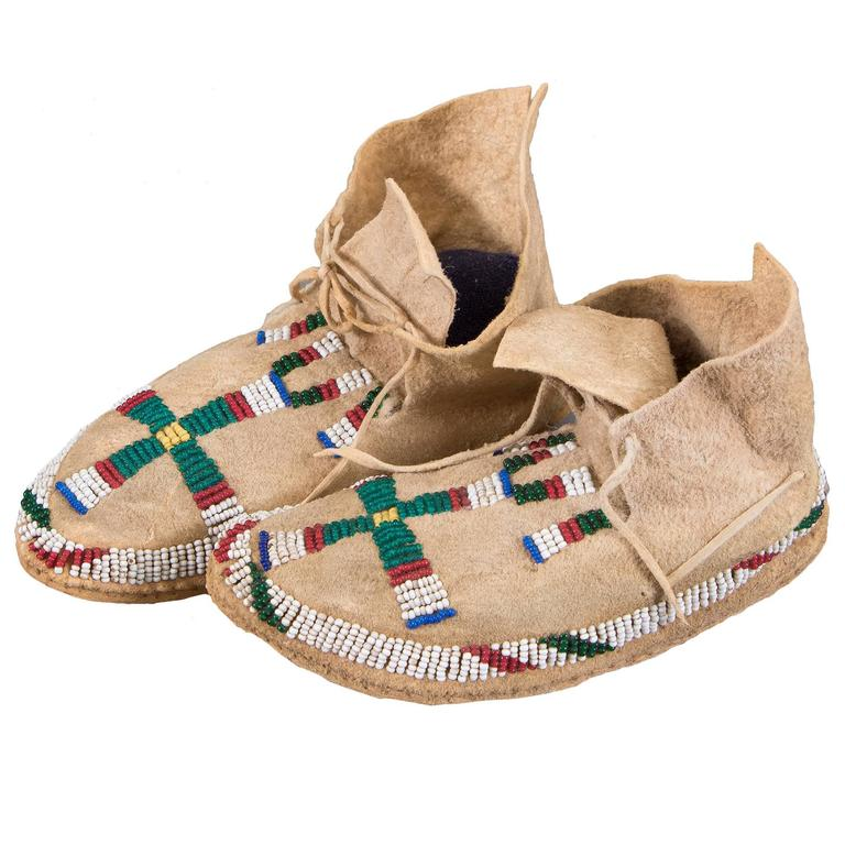 Antique Beaded Child's Moccasins, Cheyenne 'Plains Indian,' 19th Century