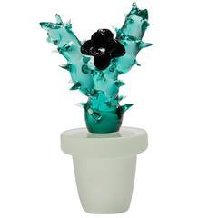 Murano Glass Cactus Vase with Black Rose by Vetreria Morasso