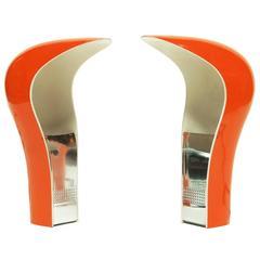 Pair of Orange Pelota Table Lamps by Studio DA, Italy