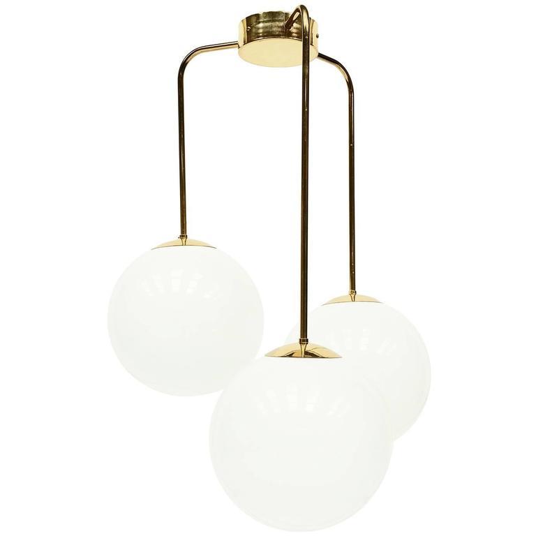 1970s Large Brass Deco Trio Globe Pendant Lamp