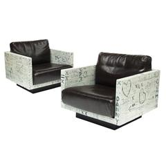 Pair of Sweetheart Graffiti Leather Armchairs Bespoke Art Furniture
