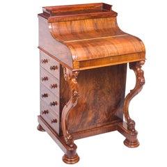 19th Century Burr Walnut Pop Up Davenport Desk