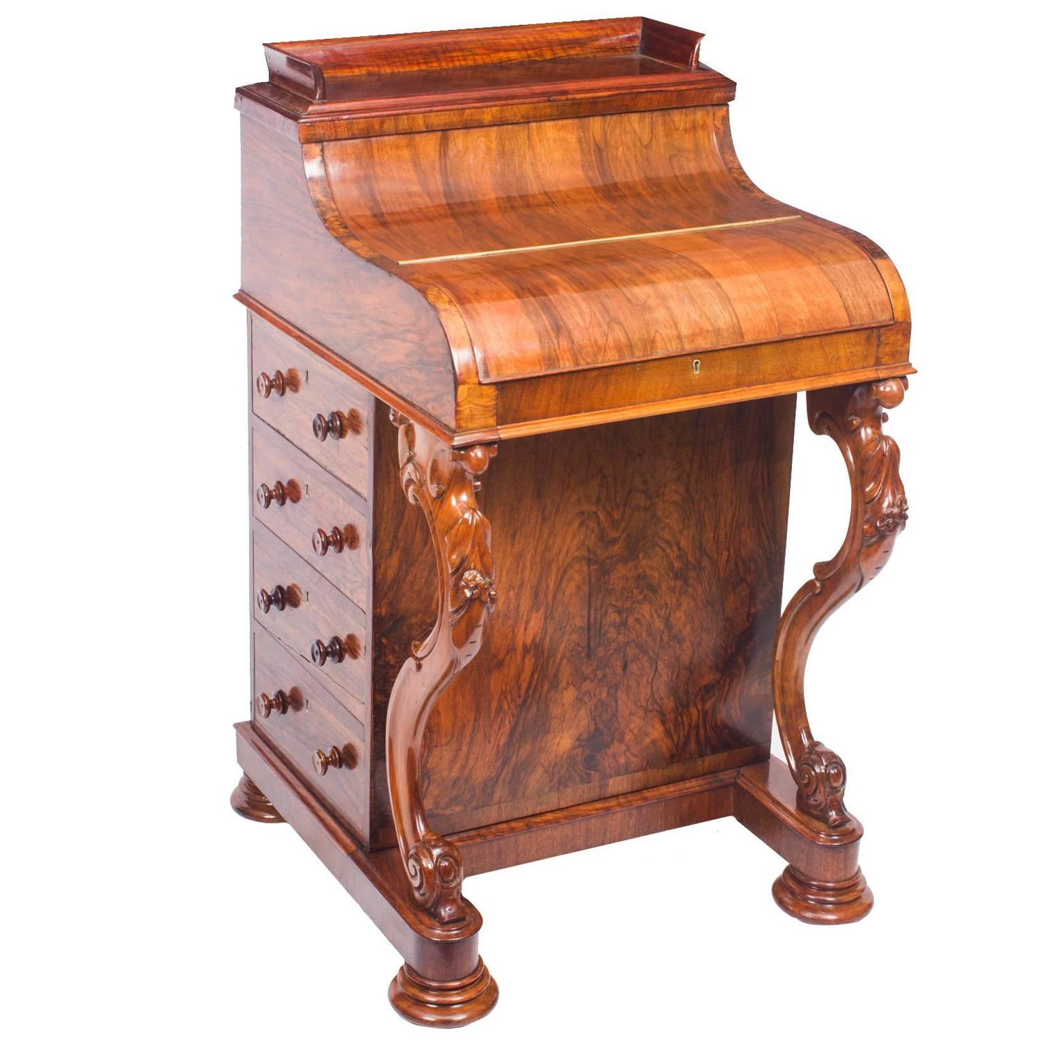 Antique Burr Walnut Pop Up Davenport Desk, Circa 1860 For Sale At 1stdibs