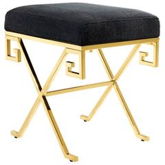 Square Stool in Gold Finish or Polished Stainless Steel and Panama Fabric, 2016