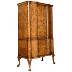 Queen Ann Burr Walnut Press Cupboard by Maple & Co