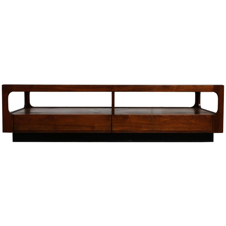 Smoked Gl And Walnut Coffee Table By Brown Saltman For