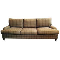 Traditional Camel Plaid Wool Ralph Lauren Sofa