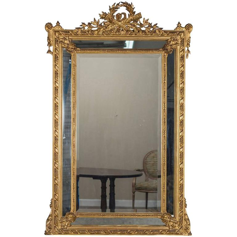 Antique Louis XVI French Giltwood Pareclose Mirror, circa 1890