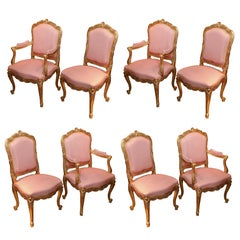 Set of Eight custom  French Louis XV Style Giltwood Dining Chairs, highly carved