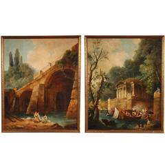 Large Pair of Antique European Classical Style Framed Views