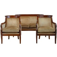 1970s Empire Influenced Three-Piece Mahogany Suite