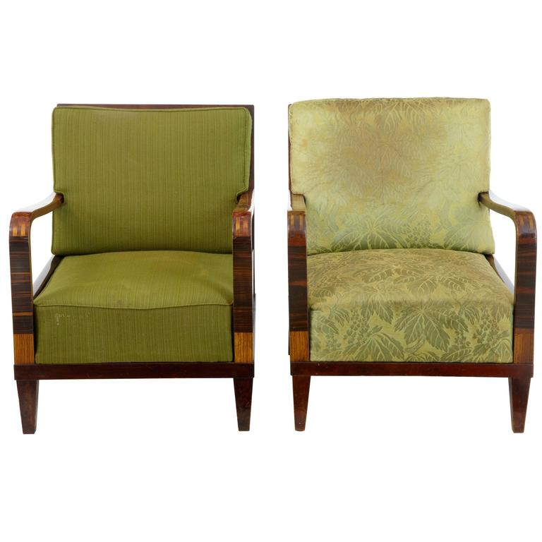 Pair of 1920s Art Deco Birch Lounge Chairs