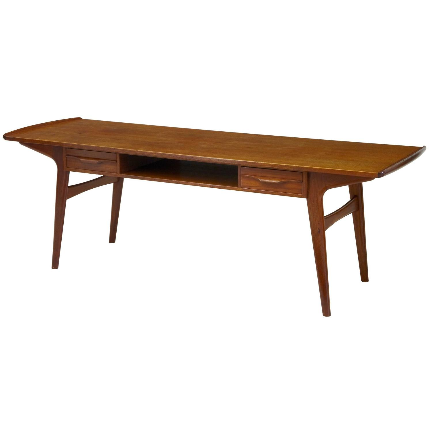 1960s Solid Teak Scandinavian Coffee Table For Sale At 1stdibs