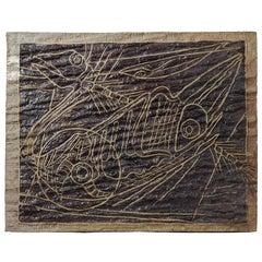 Stoneware Panel by Alain Gaudebert with Zoomorphic Decoration