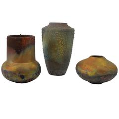 Trio of Vintage 70s Petite Raku Vases from Steve Chase Estate
