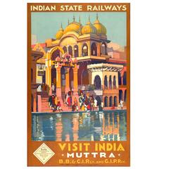 Original India Railways Travel Poster by Roger Broders