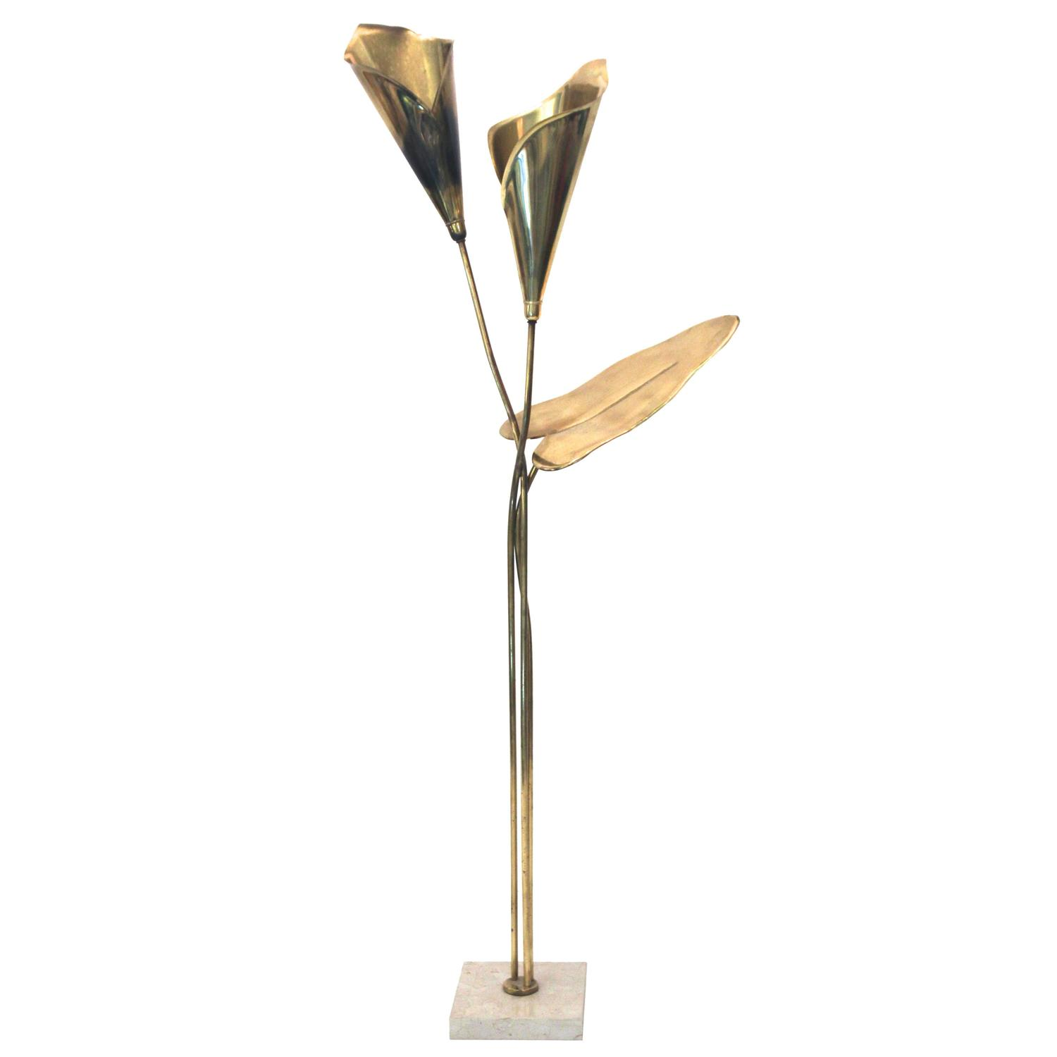 Floor lamp gold plated brass marble top circa 1970 for Brass plated floor lamp
