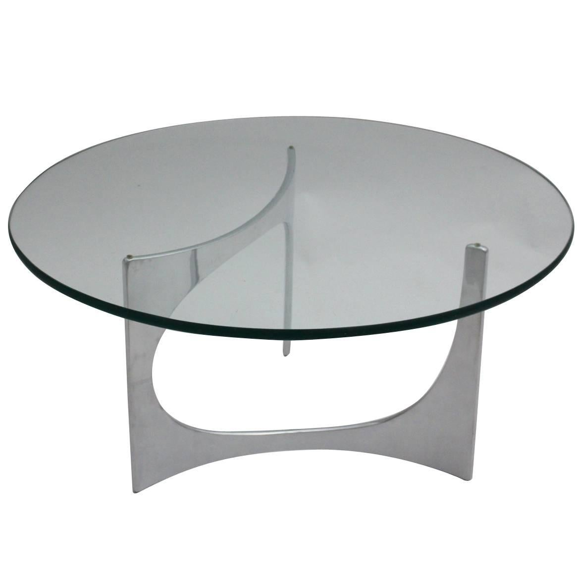Space Age Silver Aluminum Glass Vintage Coffee Table by Knut Hesterberg c 1970