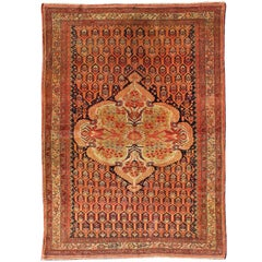 Antique Mission Malayer Rug with Floral Medallion in Blue, Orange & Green