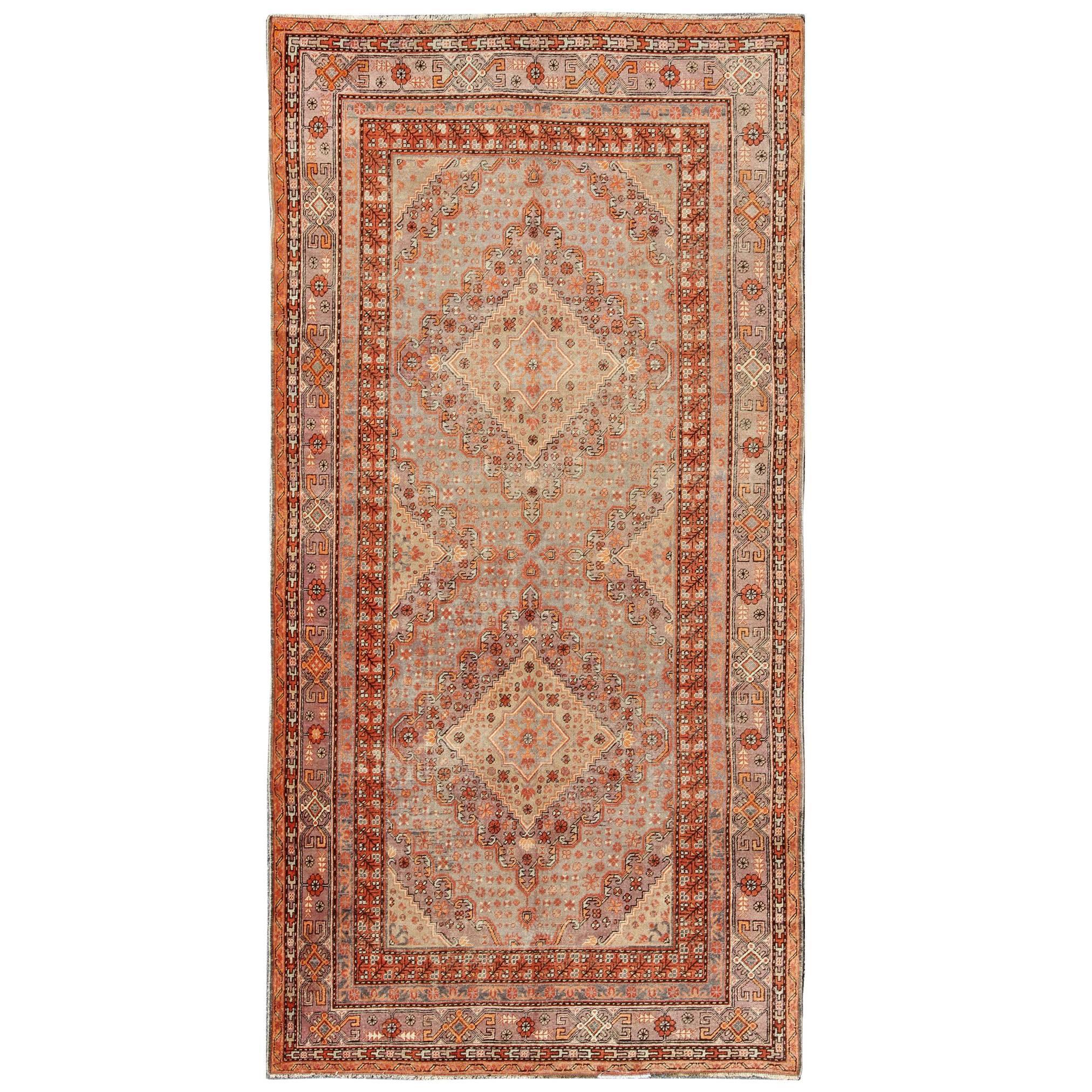 Antique Khotan/Samarkand Rug in Gray, Lavender, Rust  and Light Green
