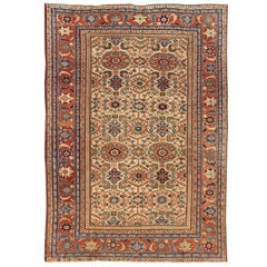 Antique Persian Sultanabad Rug with All Over Geometric Design