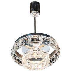 Two-Tiered Crystal Segmented Chandelier with Chrome Fittings by Kinkeldey