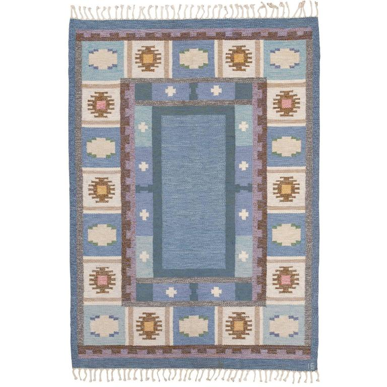 20th Century Swedish Flat-Weave Carpet by Ingegerd Silow