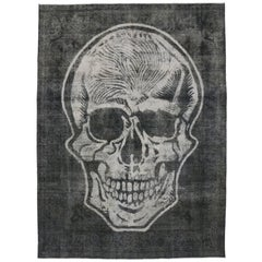Distressed Vintage Skull Steampunk Style Area Rug Inspired by Alexander McQueen