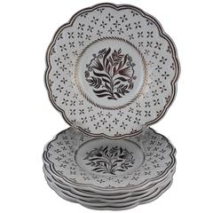 Wedgwood Gold Lustre Gothic Revival Floral Earthenware Plates, Set of Six