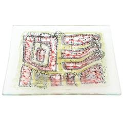 Higgins Mid-Century Fused Glass Abstract Sculptural Plate/ Low Bowl
