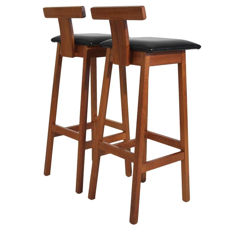 Dyrlund Modernist Solid Teak Danish Bar Stools At 1stdibs