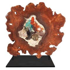 Free Standing Contemporary Art Sculpture in Maple with Crystals and Gemstones