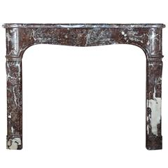 18th Century Antique Regency Fireplace Mantel in Brown Belgian Marble