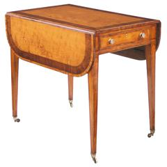 George III Satinwood and Rosewood Banded Pembroke Table