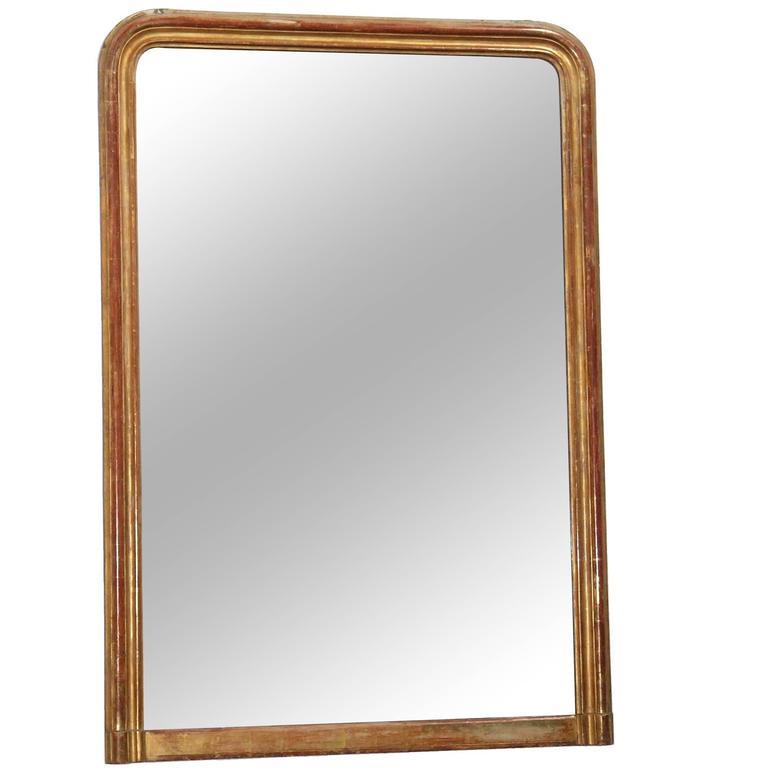 Large 24-Karat Gold Leafed Louis Philippe Mirror