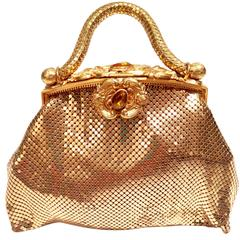 Vintage Rare Whiting and Davis Snake Coil Gold Mesh Evening Bag