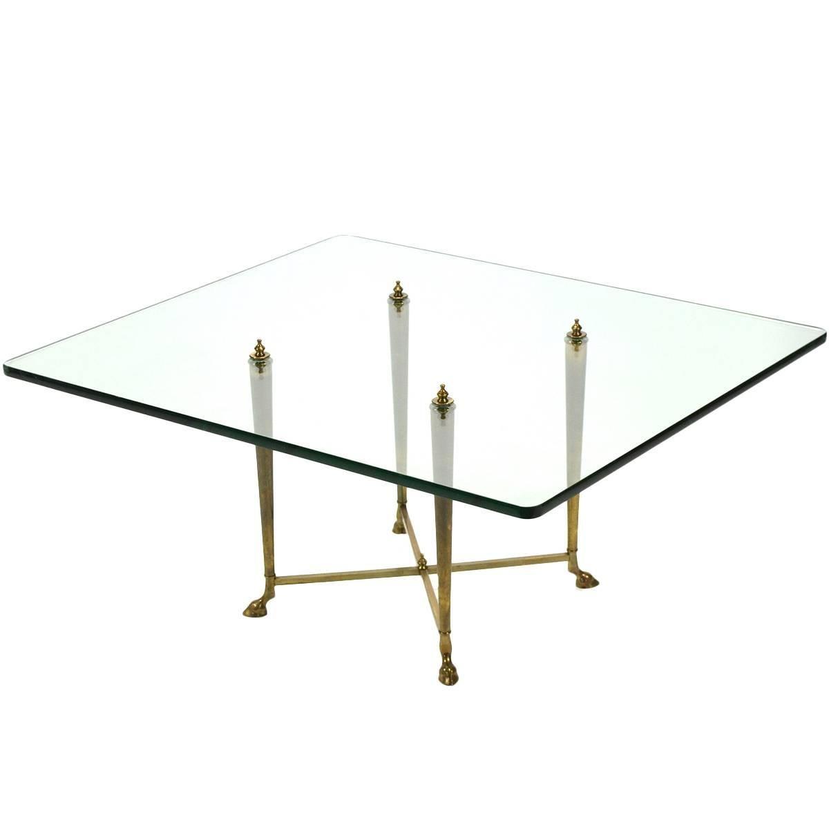 Italian Glass Top Coffee Table with Brass Hoof Base