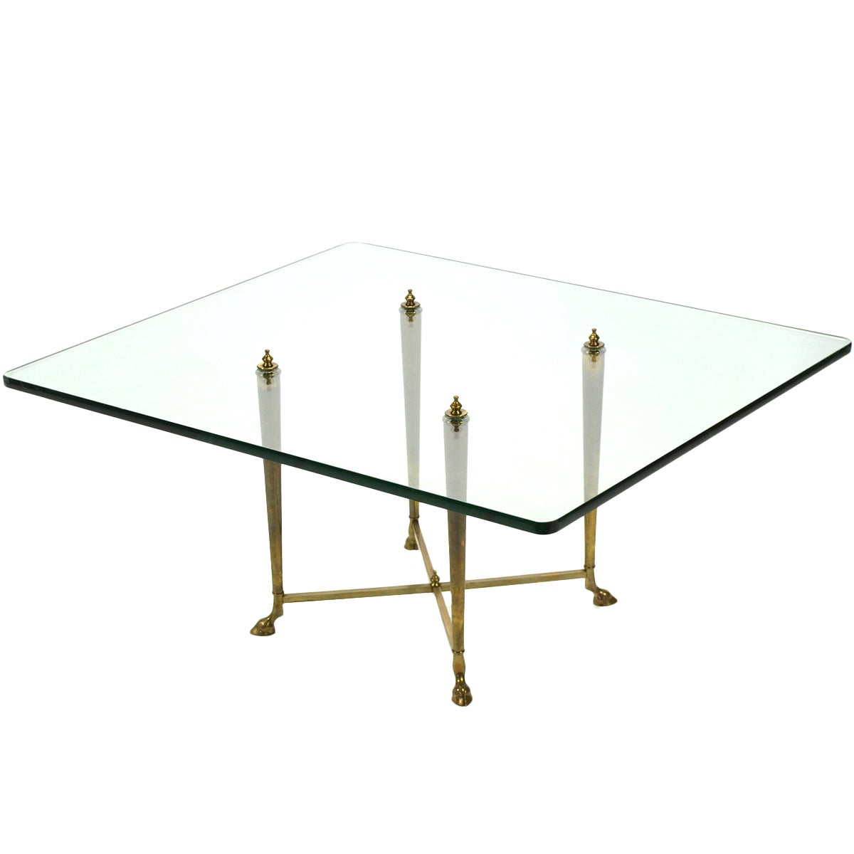 Italian Glass Top Coffee Table with Brass Hoof Base
