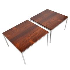 Florence Knoll Side Tables with Matched Rosewood Tops