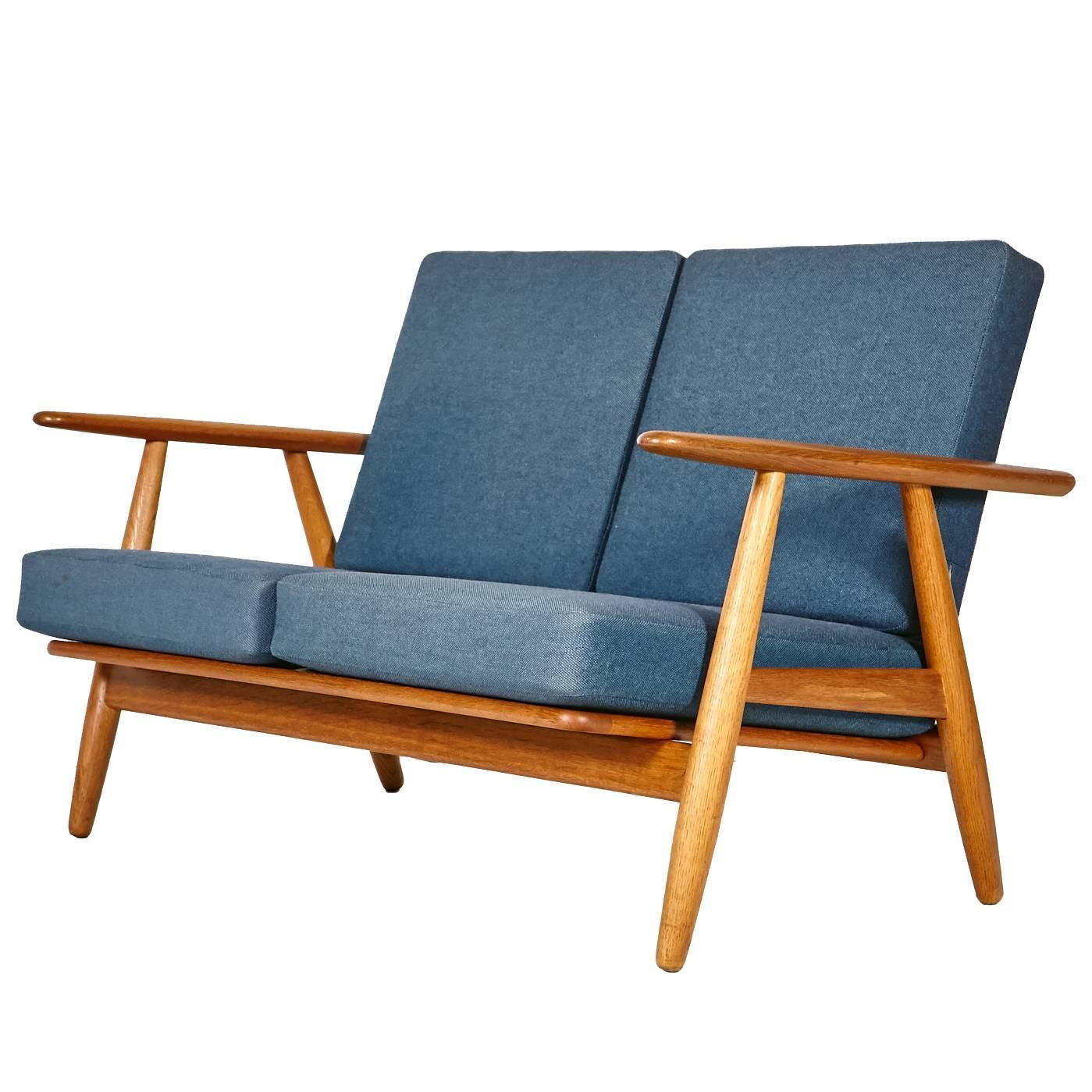 Hans J. Wegner GE 240 Cigar Sofa In Oak For GETAMA For Sale At 1stdibs