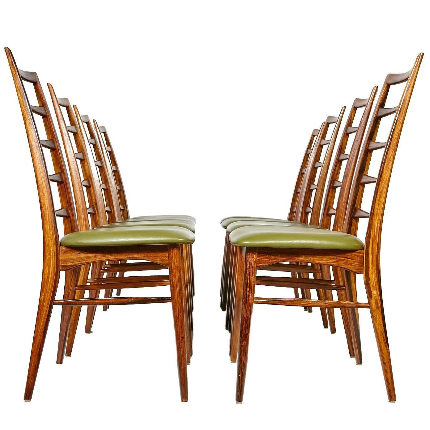 Rosewood ladder back dining chairs by niels koefoeds set of eight at 1stdibs - Ladder back dining room chairs ...