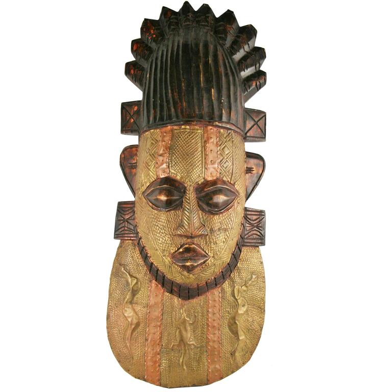 ON SALE Oversized Brass and Wood Ceremonial Wall Sculpture
