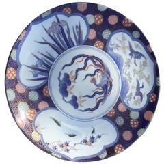Japan Beautiful Porcelain Charger, in lovely blue, red, and gold colors, 19c