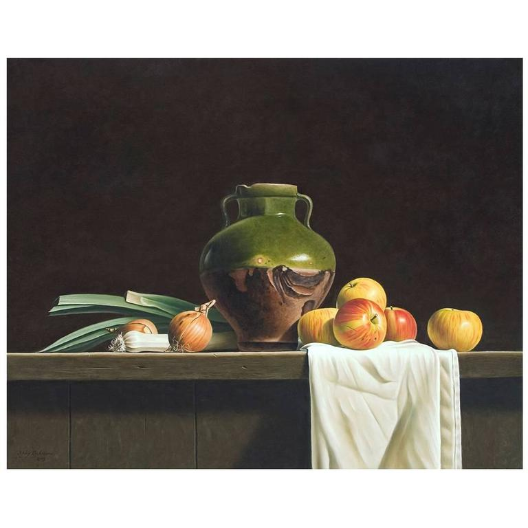 Still Life with Green Glazed Jar and Apples by Stefaan Eyckmans