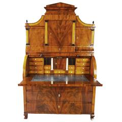 Bureau Secretaire Dutch Biedermeier with Cylinder Top Early 19th Century