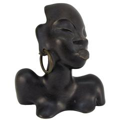 Ceramic Bust of Exotic African Woman by Leopold Anzengruber