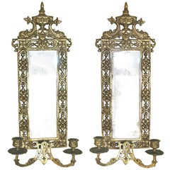 PAIR Neoclassical Brass Mirrored Candle Sconces