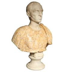 Finely Carved Italian Marble Bust of a Roman General