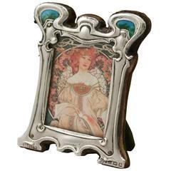 Sterling Silver and Enamel Photograph Frame, Art Nouveau Style Antique Edwardian