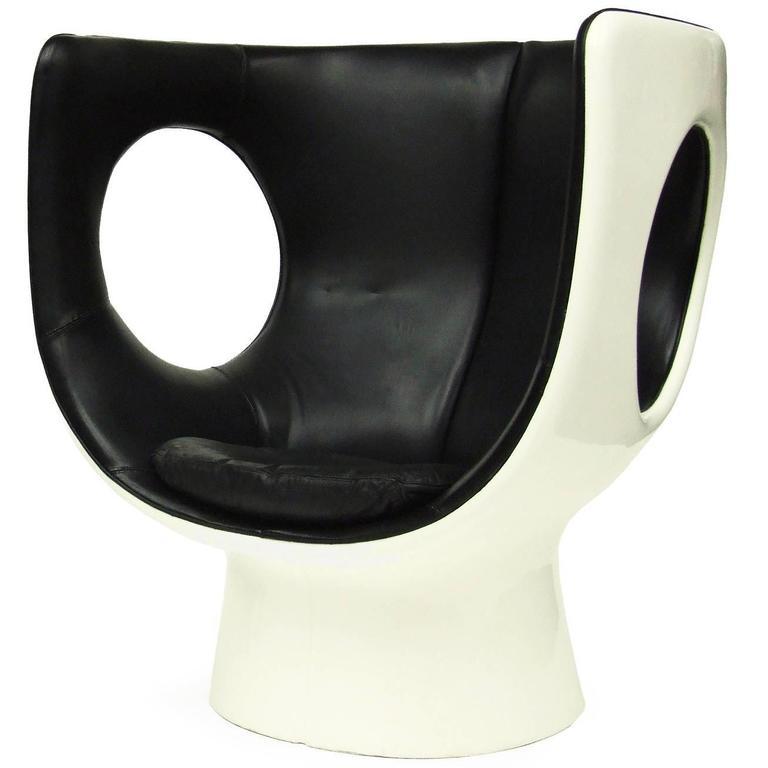 Rare 1970s Op Art Leather & Fiberglass Kontor Chair Space Age Design